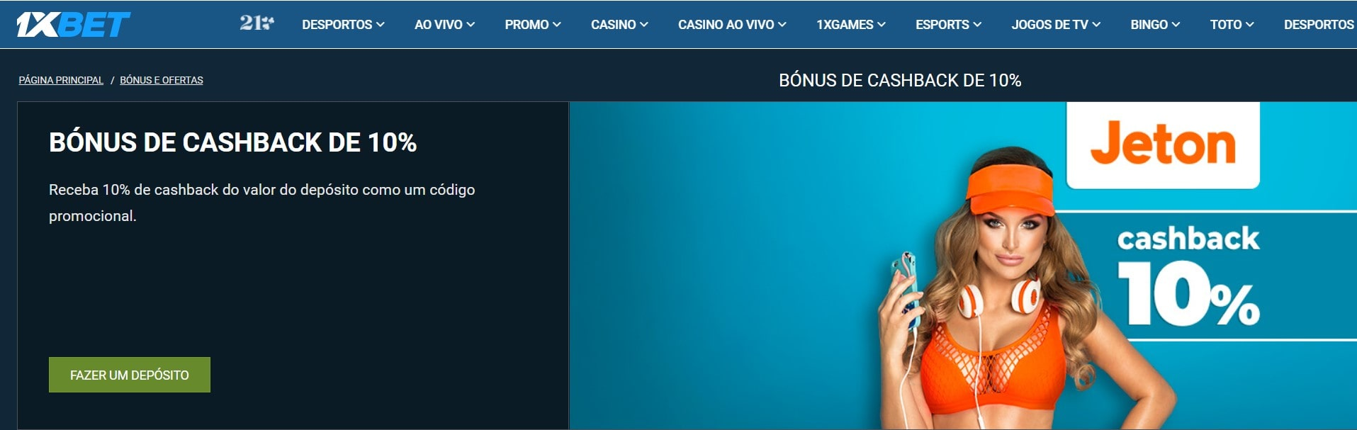 bônus de cashback de 10%